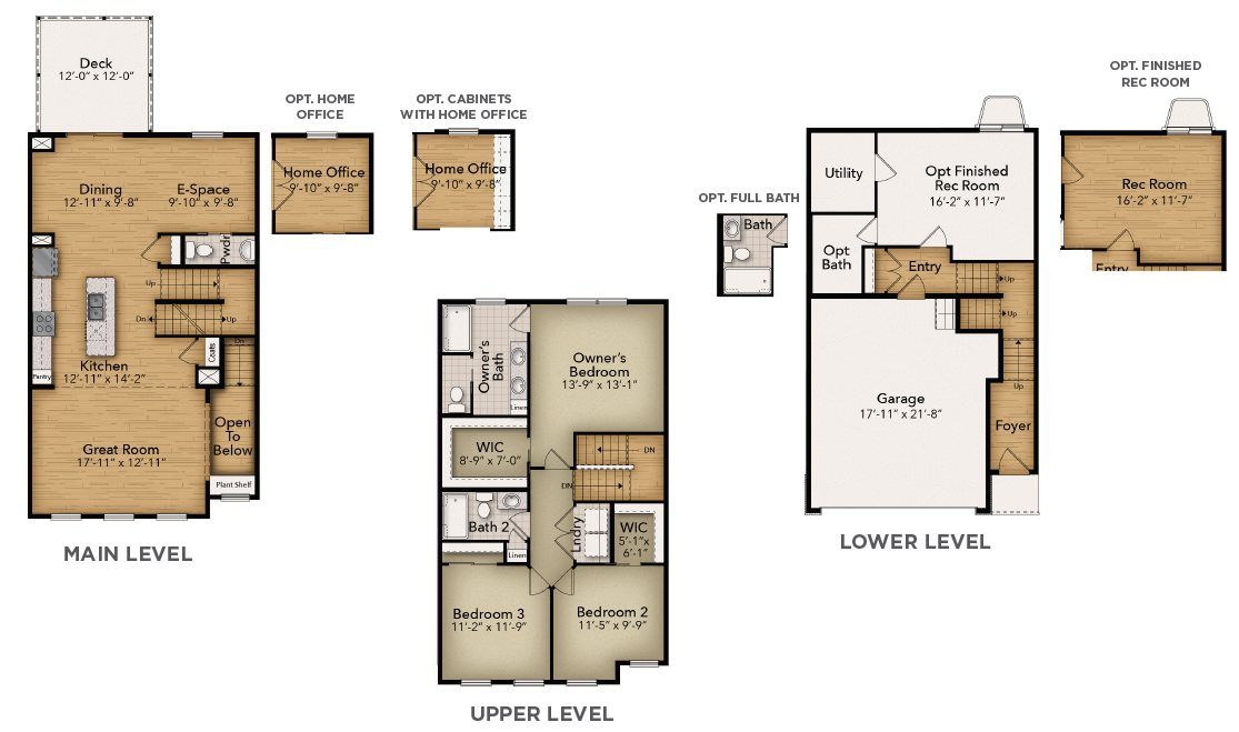 three-story townhome aerial illustration