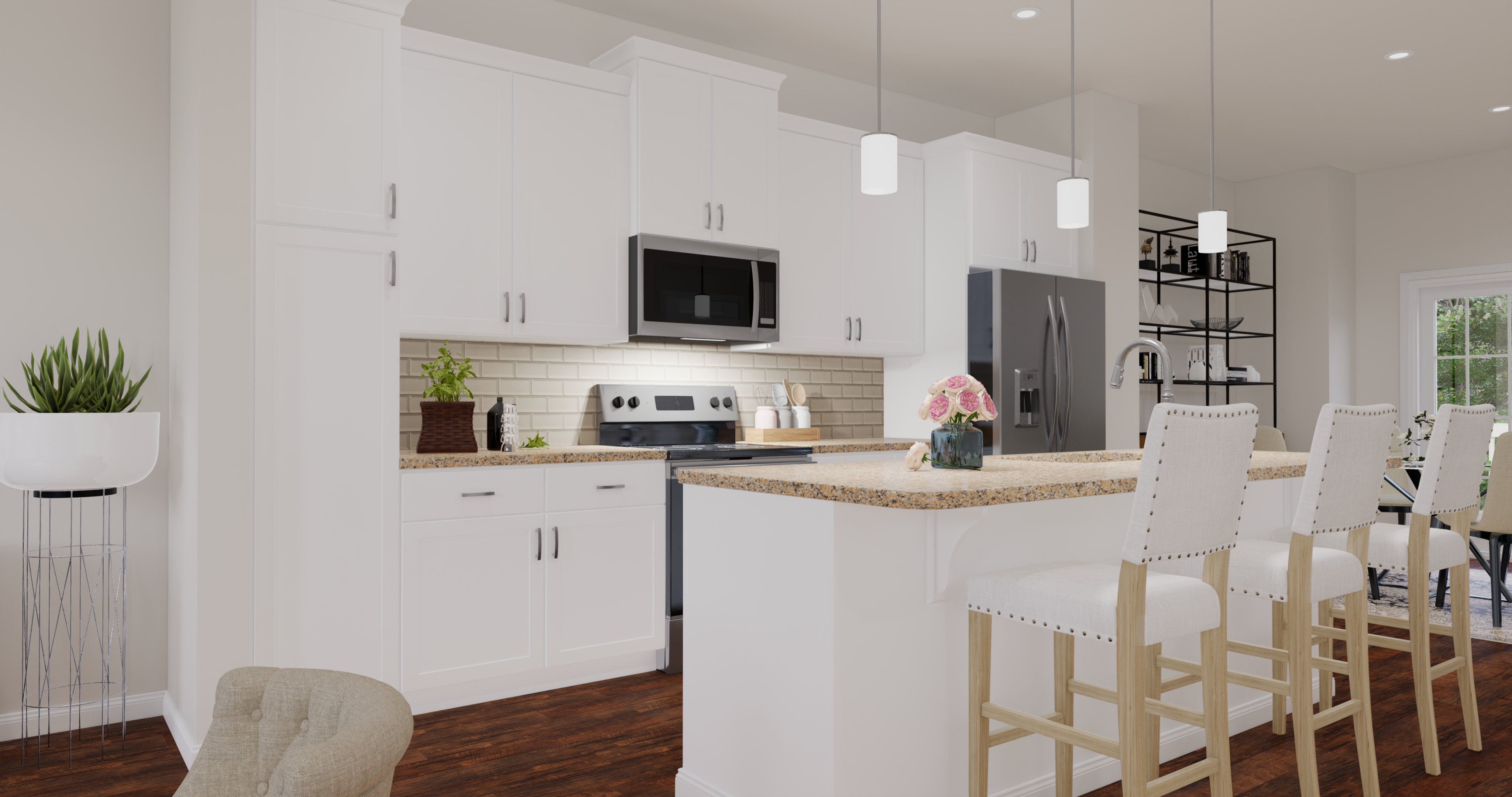 alexandria gourmet kitchen rendering with stainless steel appliances and sit-in island bar