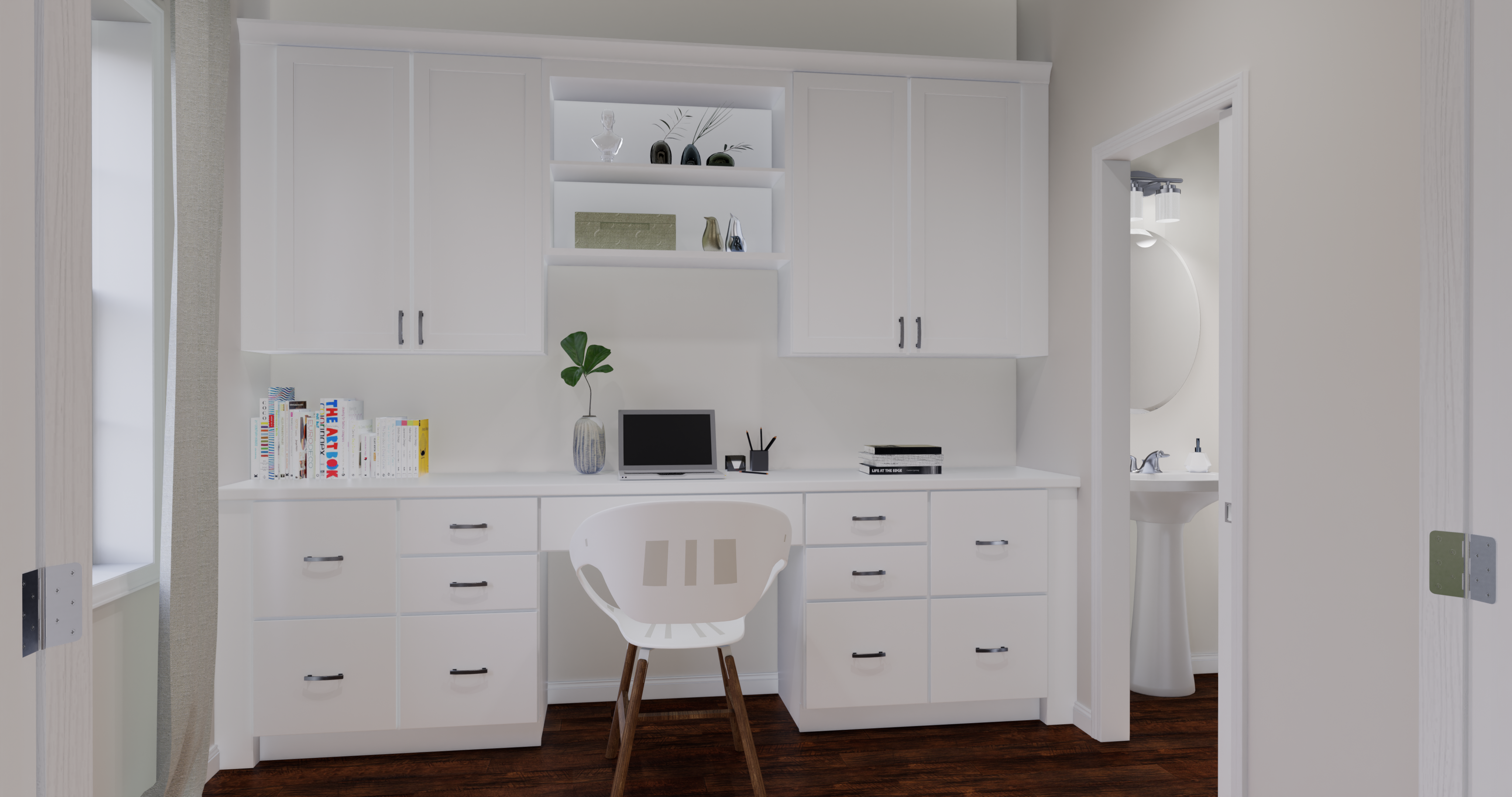 alexandria office option with built-in cabinets