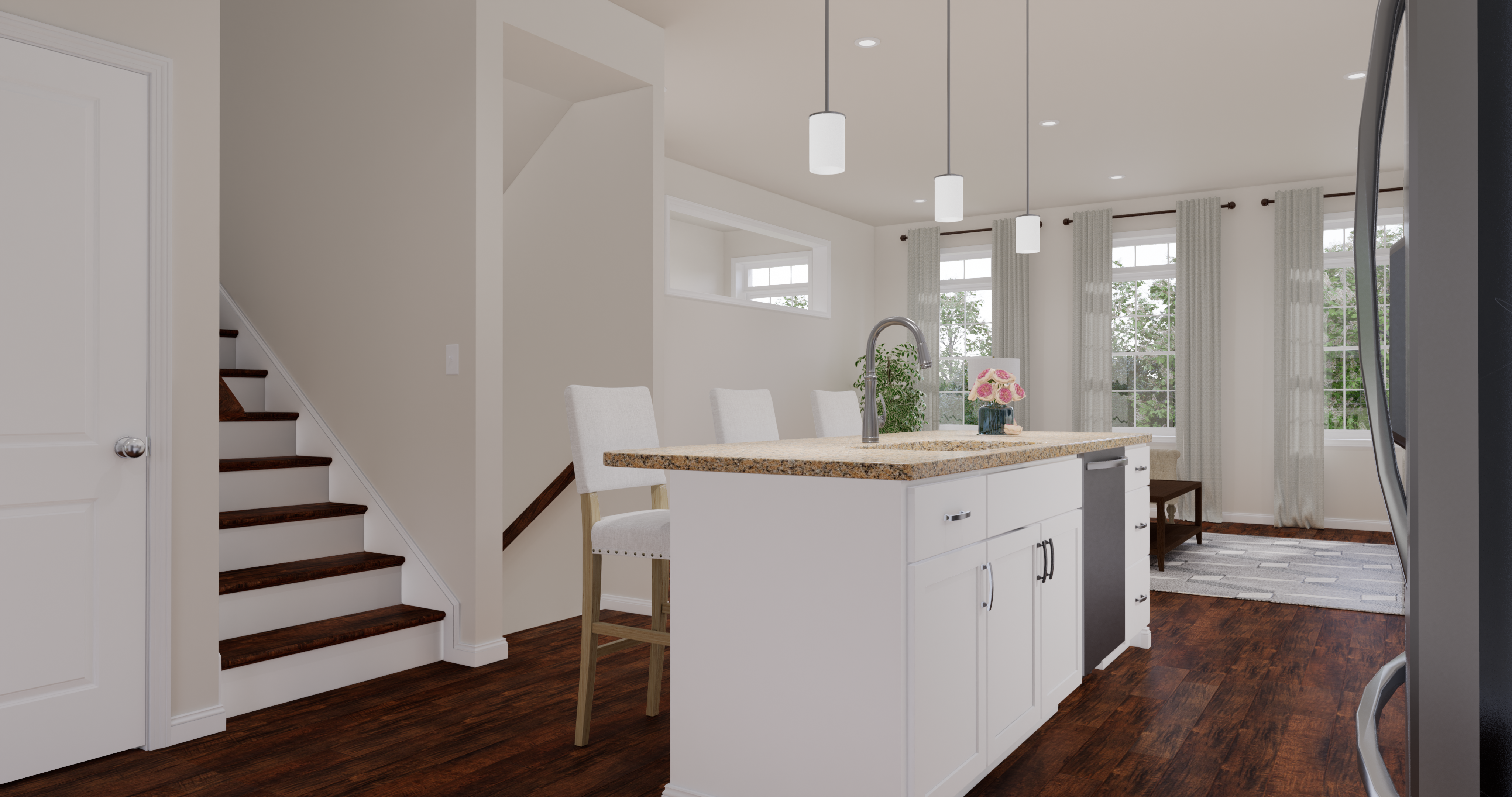 rendering of the gourmet kitchen island in the Alexandria townhome design
